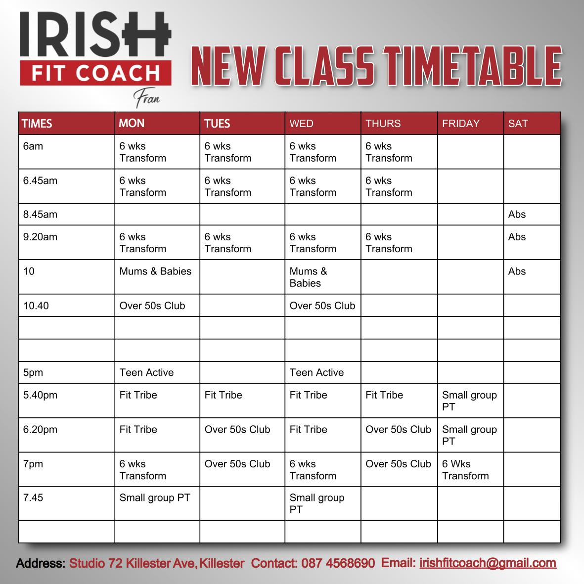 IRISH FIT COACH Timetable